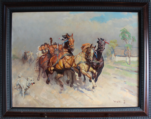 HORSES AND WAGON WITH A WEDDING PARTY Oil, 60 x 80 cm Janos Viski Hungarian [1891-1987]