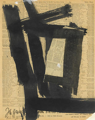 FRANZ KLINE (1910-1962) Untitled, circa 1950-1952 signed 'KLINE' (lower left) ink on telephone book page laid down on board 11 1/2 x 9 1/2in. (29.2 x 24.2cm)