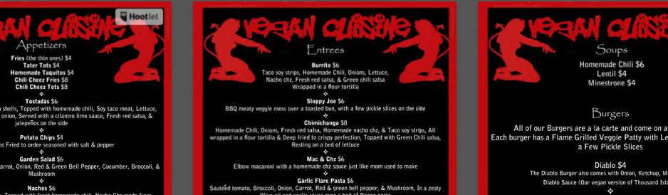 "Casa Diablo Menu ""The Best F*****ng Burger yo will ever eat"""