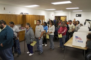 Voters lined up to Vote Photo: wyofile via Creative Commons